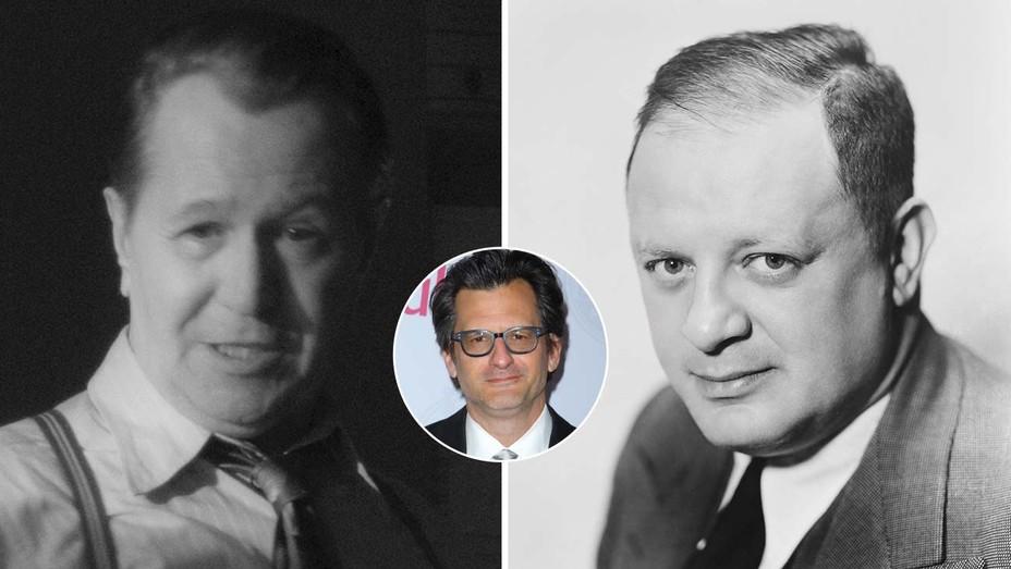 Gary Oldman in Mank; Herman Mankiewicz. Inset: TCM host Ben Mankiewicz, Herman's grandson.