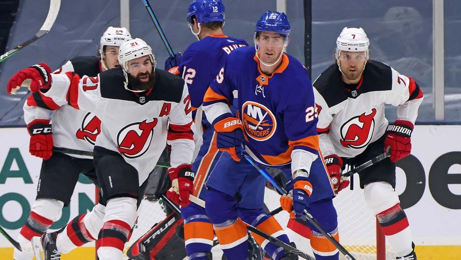 New York Islanders skates against the New Jersey Devils at the Nassau Coliseum on January 21, 2021 in Uniondale, New York.