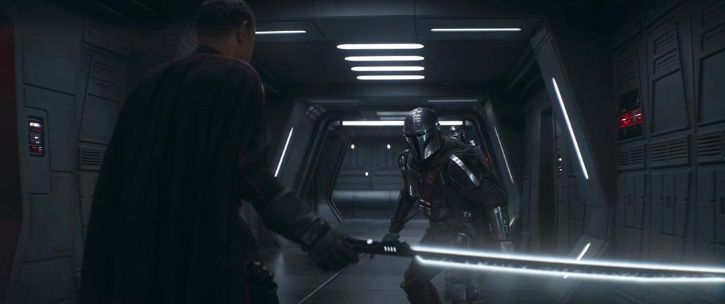 Giancarlo Esposito (left, as Moff Gideon) broke several Darksabers during a fight with The Mandalorian (stuntman Lateef Crowder pictured).