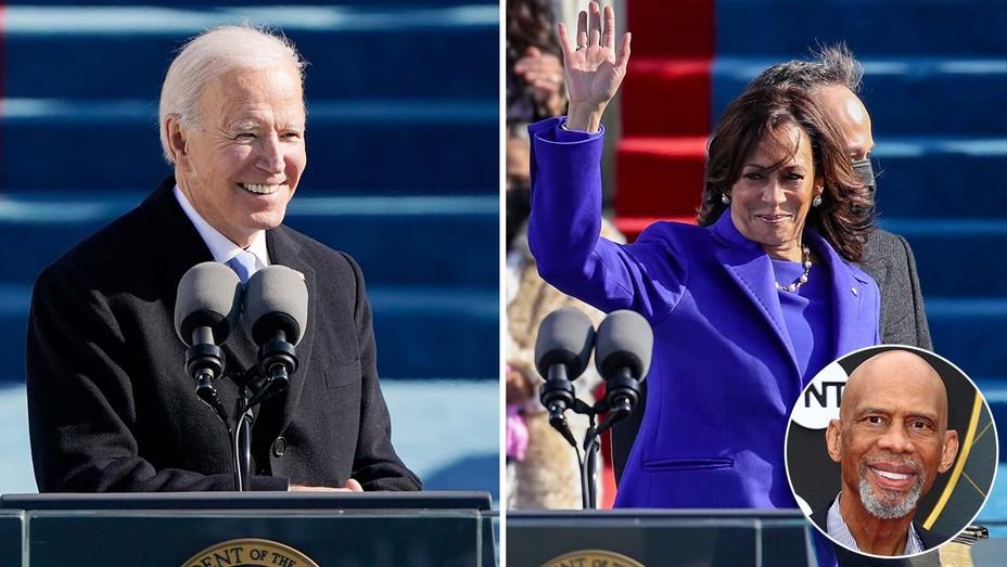 Joe Biden and Kamala Harris on inauguration day, with inset of Kareem Abdul-Jabbar.