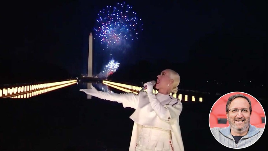 Katy Perry in front of the Washington Monument, with inset of Ricky Kirshner