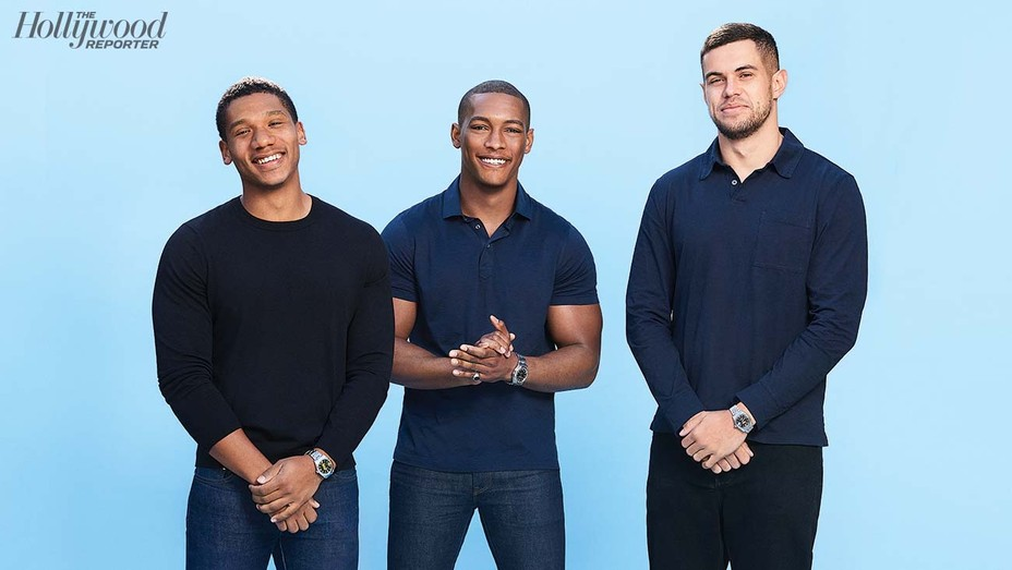 """""""For me it was like, 'Let's figure out where the most exciting areas of storytelling are — something you know peoplewant, but studios aren't clued in on yet,'"""" says New Slate Ventures founder Jordan Fudge (center) flanked by partners Jeremy Allen and Zach White. They were photographed Dec.14 in Bel Air."""
