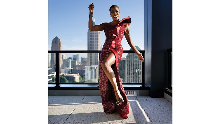 Photographer Wendell Weithers shot actress Yvonne Orji, wearing Azzi Osta, on a rooftop in Atlanta for the Emmys.