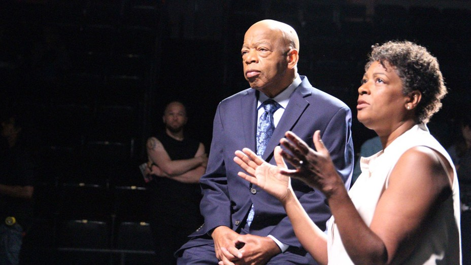 Filmmaker Dawn Porter directs Rep. John Lewis on the set of the documentary 'John Lewis: Good Trouble.'