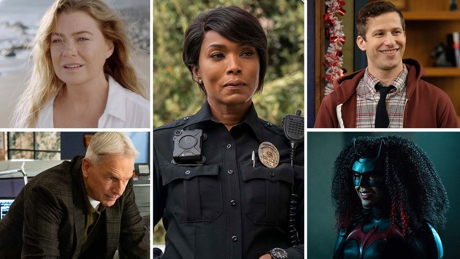 Grey's Anatomy with Ellen Pompeo, NCIS with Mark Harmon, 911 with Angela Bassett, Brooklyn Nine-Nine with Andy Samberg and Batwoman with Javicia Leslie