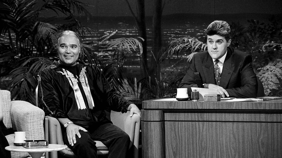 Charlie Hill (left) on The Tonight Show in 1991 with guest host JayLeno. In 1978, he became the first Native American comic on the program.