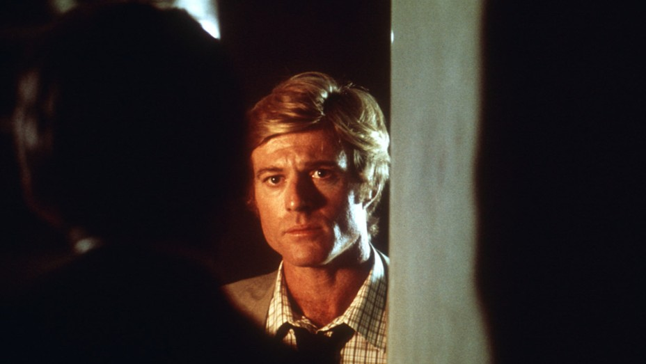 """Hal Holbrook as """"Deep Throat"""" and Robert Redford as Bob Woodward in 'All the President's Men' (1976)."""