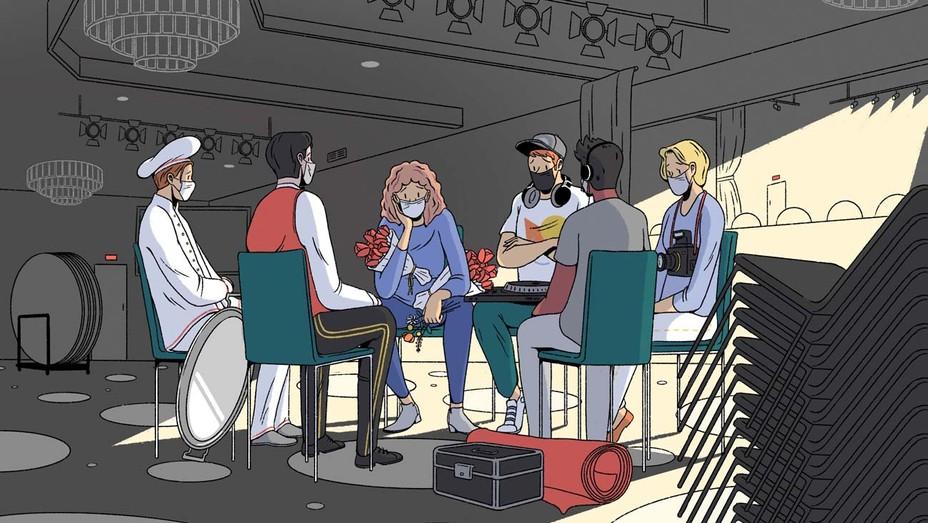 Pandemic Brings Brutal Hit to Awards-Season Economy Illustration by Nien-Ken Alec Lu