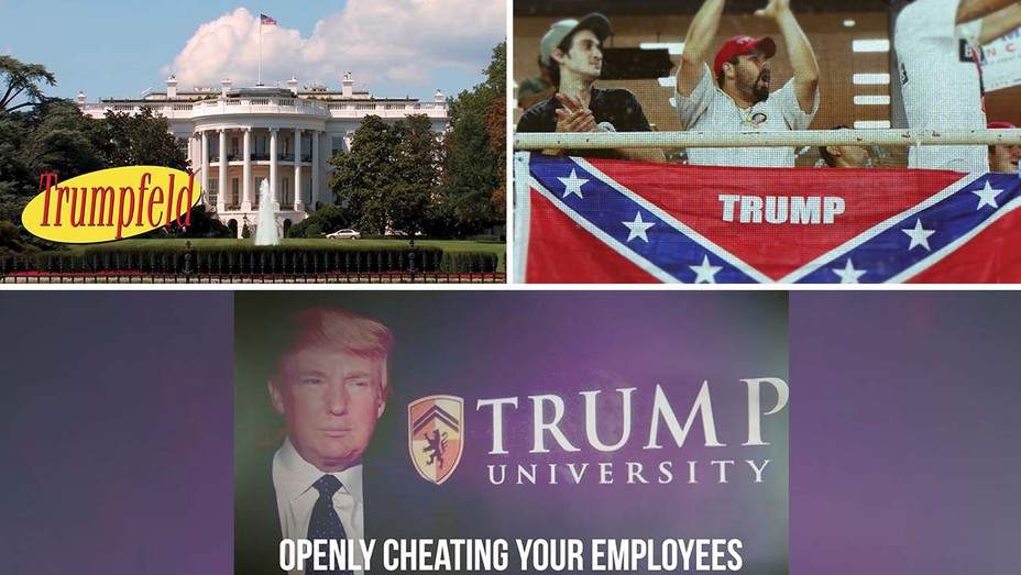 Screenshots from a trio of Lincoln Project political ads, among the many created by the group that mercilessly assailed then-President Donald Trump and drew millions of views on social media platforms.