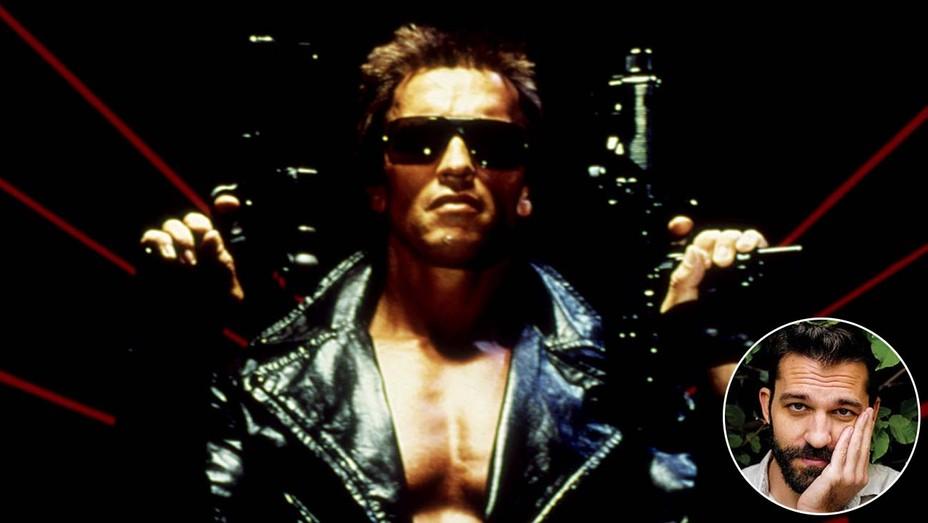Terminator with inset of writer Mattson Tomlin