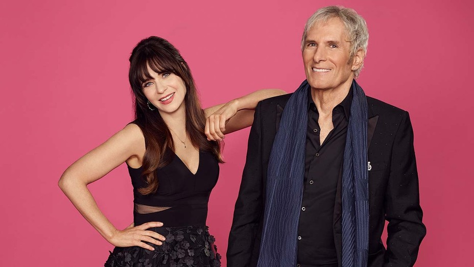 The Celebrity Dating Game Hosts ZOOEY DESCHANEL and MICHAEL BOLTON