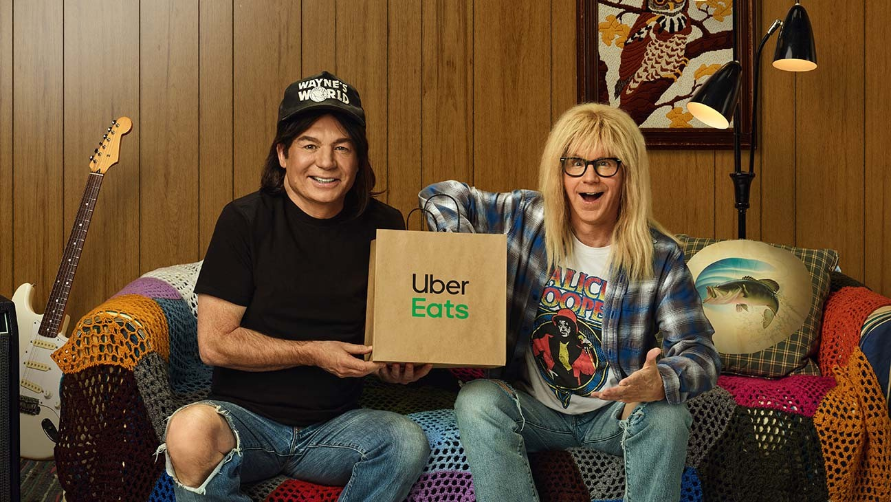'Wayne's World' Stars Mike Myers and Dana Carvey Reunite for Uber Eats Super Bowl Ad With Cardi B