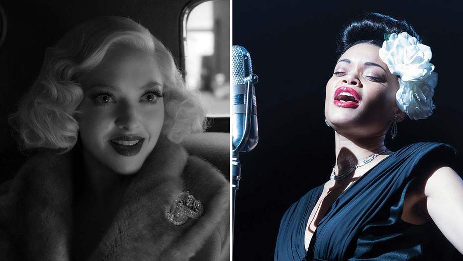 Amanda Seyfried as Marion Davies in Mank and Andra Day in The United States vs. Billie Holiday.