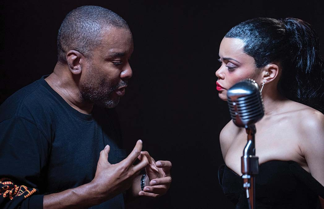 Director Lee Daniels and Andra Day on set of The United States vs. Billie Holiday