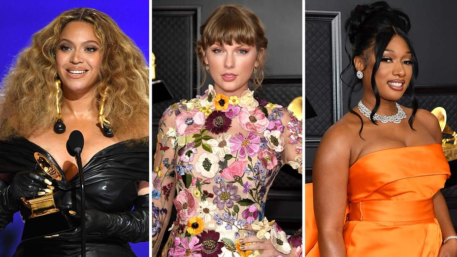 Beyonce, Taylor Swift and Megan Thee Stallion from the Grammys