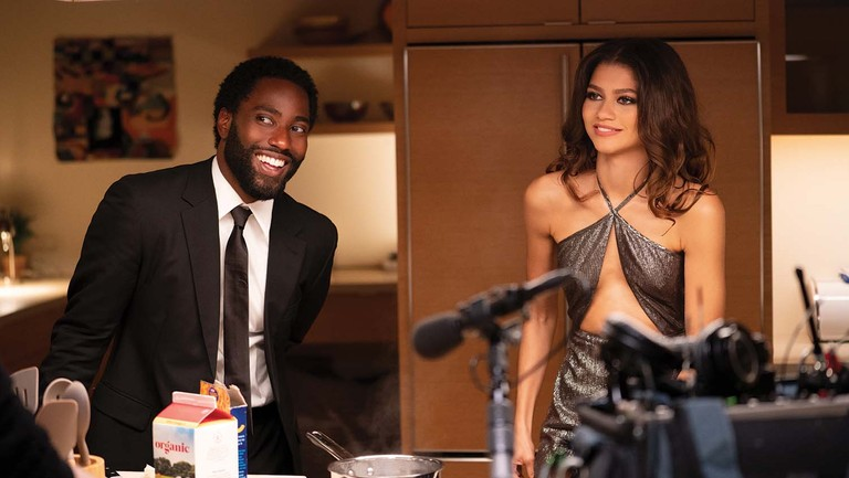 <p>John David Washington and Zendaya during a moment of levity on the set of the relationship drama Malcolm & Marie. </p>