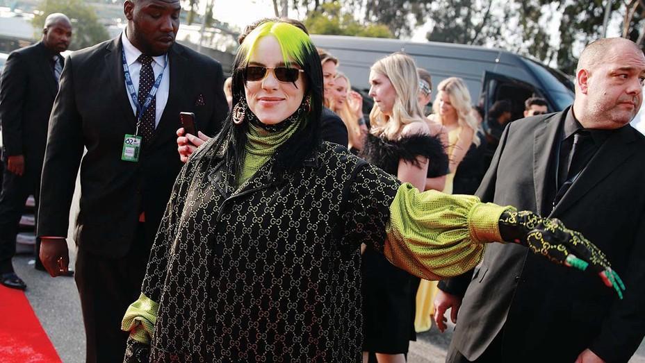 Better days: Billie Eilish unmasked on the 2020 Grammy red carpet.