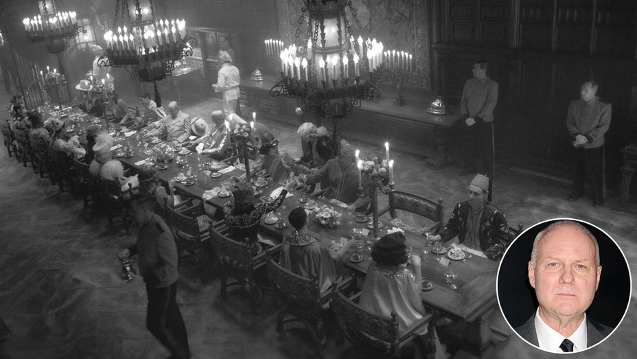 A dinner at San Simeon in Mank, on a set built and filmed at Los Angeles Center Studios.