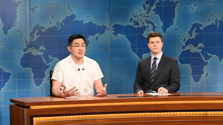"""Bowen Yang on """"Weekend Update"""" during 'Saturday Night Live' on March 27, 2021."""