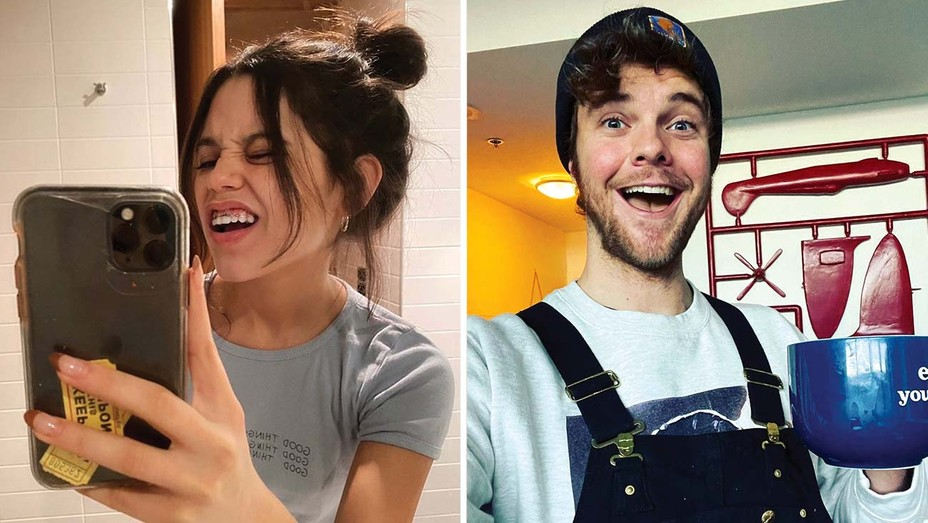 Jenna Ortega during her New Zealand quarantine and Jack Quaid in his Toronto hotel room during his 14-day lockdown.