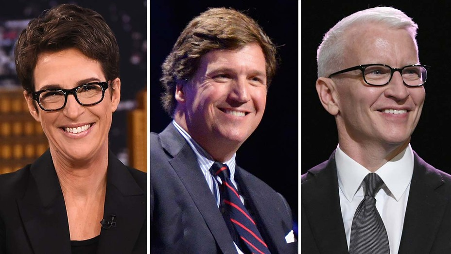 Rachel Maddow, Tucker Carlson and Anderson Cooper