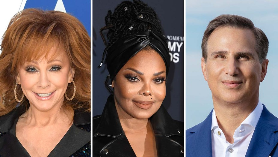 Reba McEntire, Janet Jackson and A+E Networks president Paul Buccieri