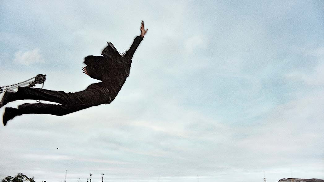 In a moment of abandon, Mikkelsen as Martin leaps over the water. The film ends with him frozen in midair, at the exact moment where he is about to fall. Or fly.