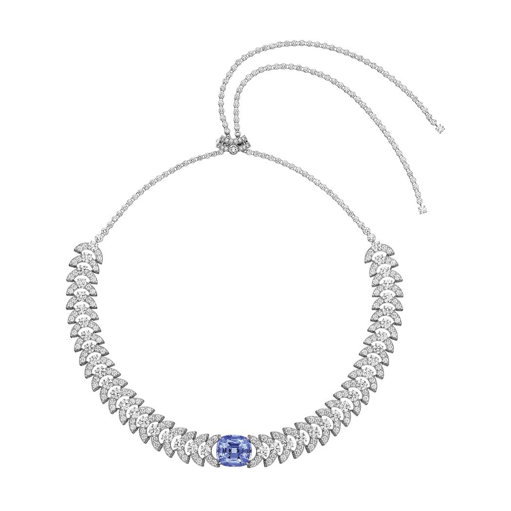 Cartier: A 19.13-carat violet sapphire from Sri Lanka is surrounded by diamonds on this necklace that also can be worn as a headband; price upon request, at Cartier, Beverly Hills