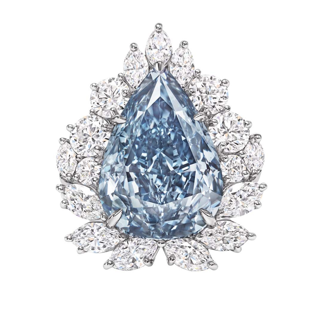 Harry Winston: This platinum ring showcases a 13.22-carat pear-shaped blue diamond; price upon request, at Harry Winston, Beverly Hills.