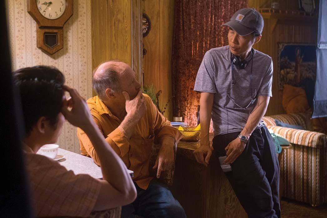Steven Yeun and Will Patton with Minari director Chung.