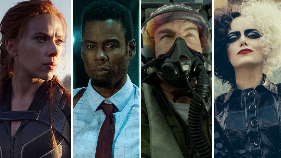 Scarlett Johansson in 'Black Widow,' Chris Rock in 'Spiral,' Tom Cruise in 'Top Gun Maverick,' Emma Stone in 'Cruella'